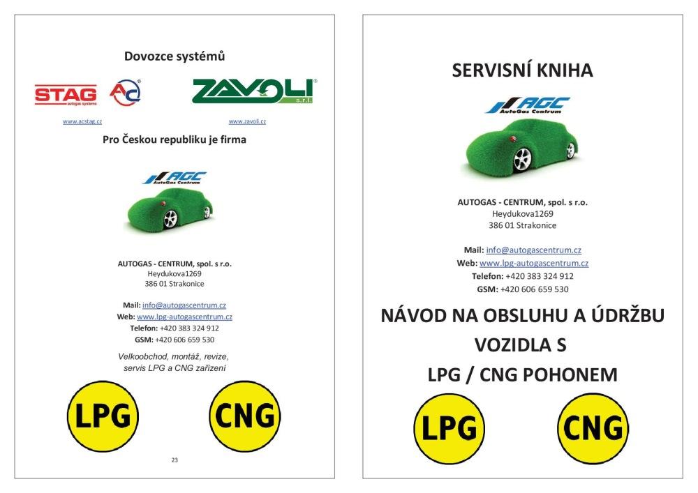 Servisní kniha LPG / CNG zařízení